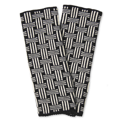 Wristwarmers (pair) Basket, black/white