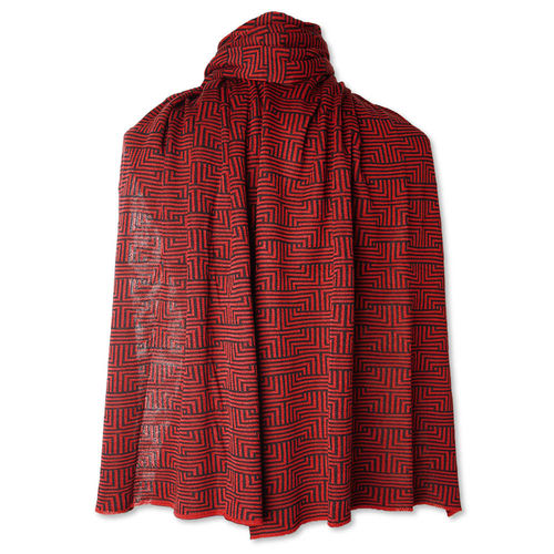 Shawl Meander, red/black