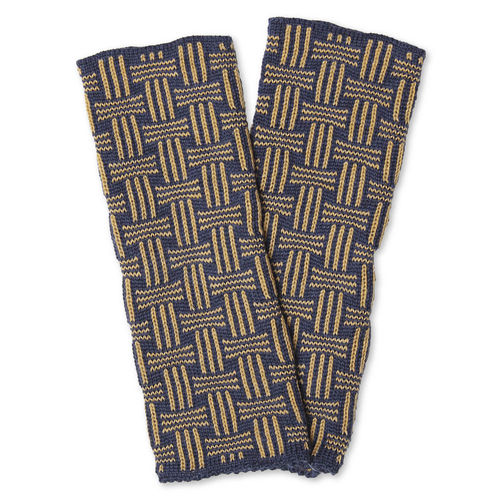 Wristwarmers (pair) Basket, dark-blue/camel