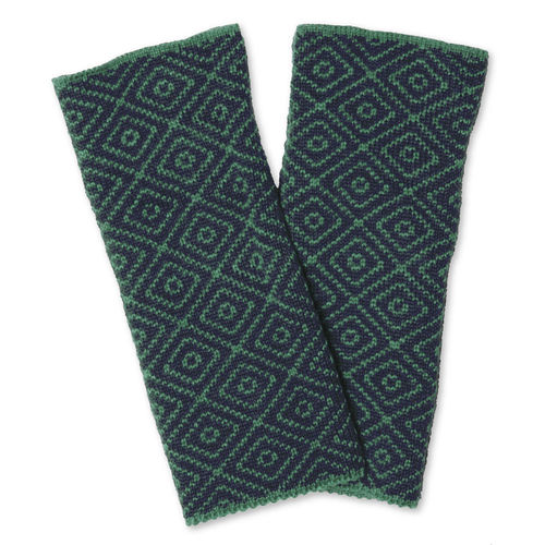 Wristwarmers (pair) Rhomb, dark-blue/teal