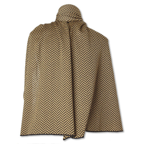 Shawl Fishbone, black/camel