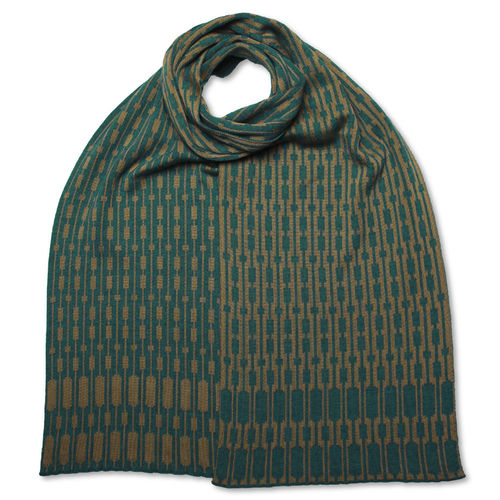 Scarf Silk/Merino Trespassers, gold-olive/teal