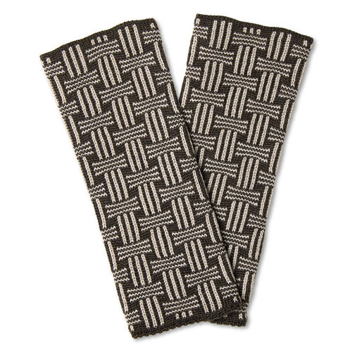 Wristwarmers (pair) Basket, anthracite/stone-grey