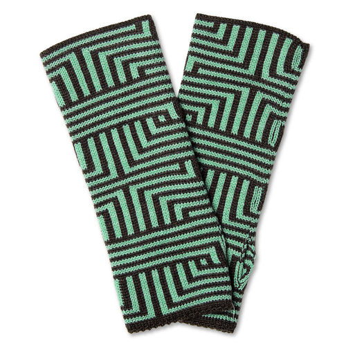 Wristwarmers (pair) Meander, anthracite/ice-turquois