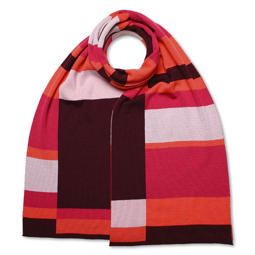 Scarf Art-Line Boxes, bordeaux/pink/grey