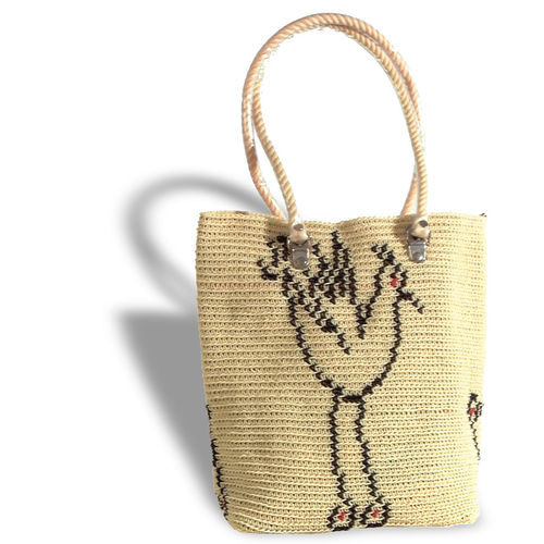 Plastetasche Bird beige/black/red