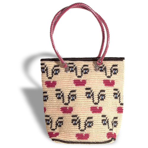 Plastetasche Face beige/black/red