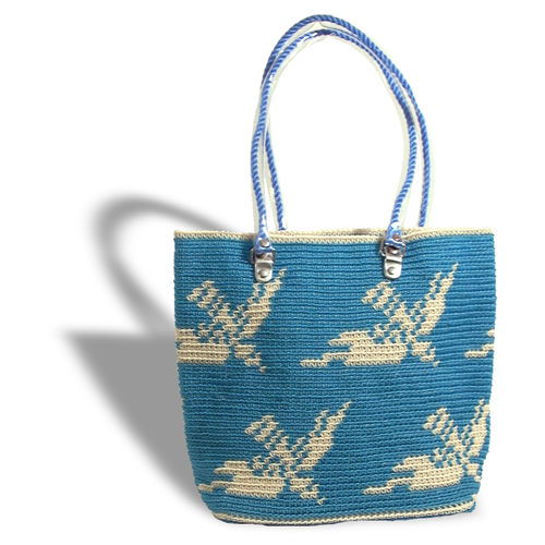 Plastetasche Flying Birds blau/beige