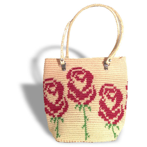 Plastetasche Rose beige/red/green