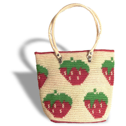 Plastetasche Strawberry beige/red/green