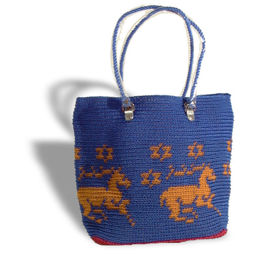 Plastetasche Unicorn blau/orange