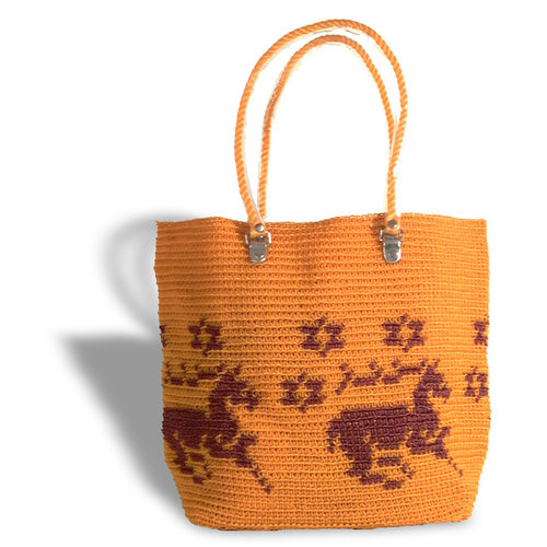 Plastetasche Unicorn orange/braun
