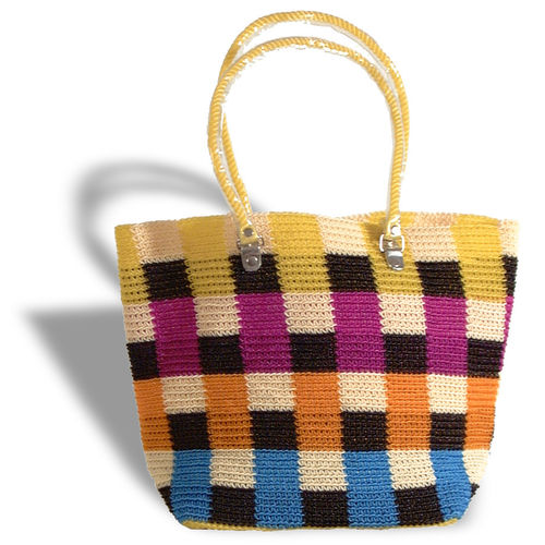 Plastetasche Square gelb/lila/orange/blau