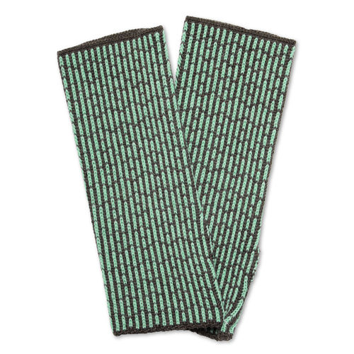 Wristwarmers (pair) Stripes 3, anthracite/ice-turquois
