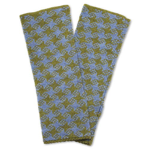 Wristwarmers (pair) Star, olive-green/light-blue