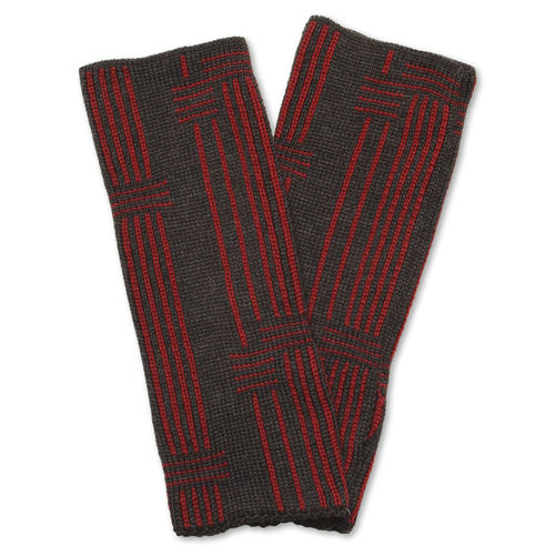 Wristwarmers (pair) Stripes 4, anthracite/red