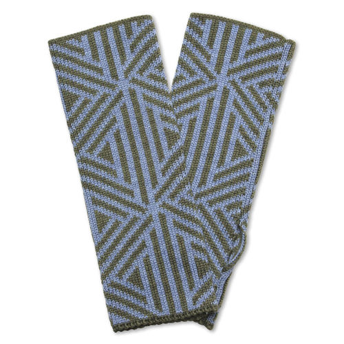 Wristwarmers (pair) Triangle, light-blue/olive-green