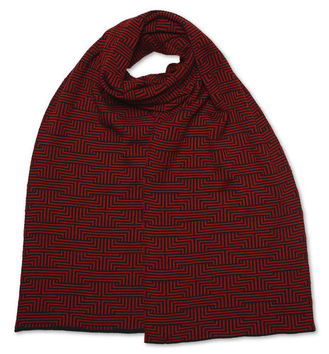 Scarf flat Meander, red/black