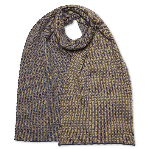 Scarf flat Basket, dark-blue/camel