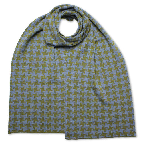 Scarf flat Star 3, olive-green/light-blue