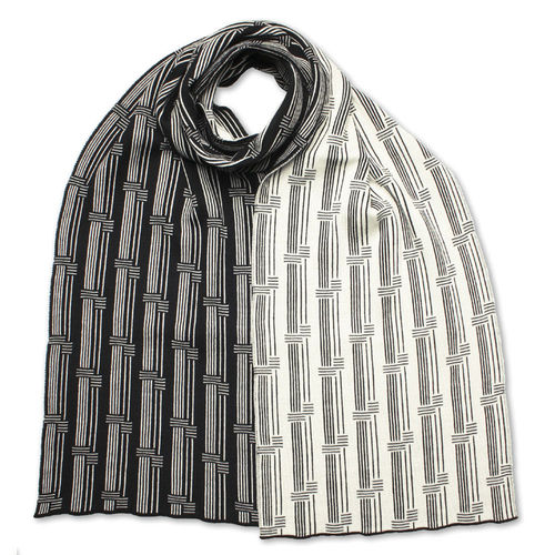 Scarf flat Stripes 4, black/white