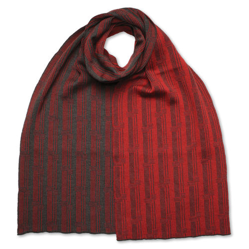 Scarf flat Stripes 4, anthracite/red