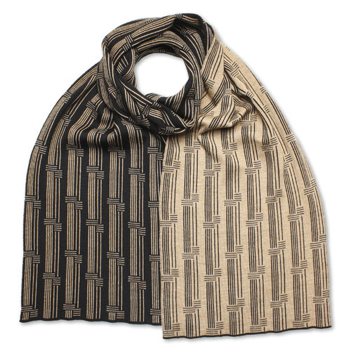 Scarf flat Stripes 4, black/camel